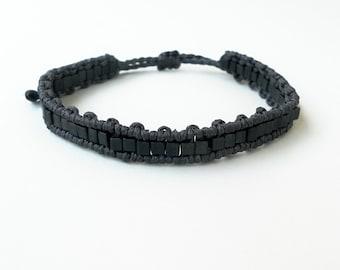 Dark grey Mens beaded bracelet Beaded bangle, Macrame bracelet, Minimalist bracelet, Bangle bracelet, Boyfriend gift,Unisex,Adjustable strap