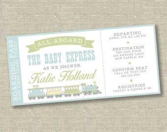 train baby shower invitation, train ticket baby shower, baby shower ticket invitation, baby express invitation, train baby shower