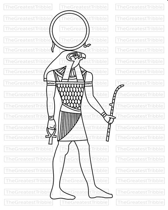 Ra Egyptian God Clip Art SVG PNG JPG Vector Graphic Egypt Coloring Page From TheGreatestTribble On Etsy Studio