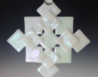 PRISM White Iridized Snowflake, Fused Glass Ornament Suncatcher