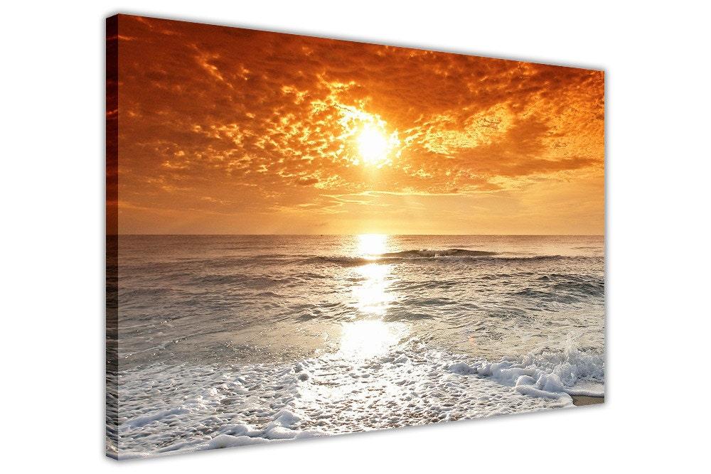 Wolkenschleier Sonnenuntergang über Strand Leinwand Wand