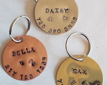 Dog id tag - dog collar tag - pet id tag - hand stamped - unique pet tag - engraved - custom dog tag - dog tag - engraved dog tag - dog