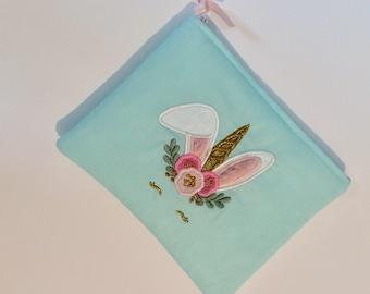 Pouch / bag / storage / woman / girl / girl /lapin /bunny / rabbit /unicorn /licorne /women. French manufacturing