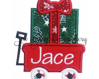 Christmas Wagon Personalize Applique Embroidered Patch, Iron or sew on