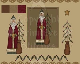 Graphics-Father Christmas-Primitive 8x10, 8.5x11 & Clip Art-INSTANT DOWNLOAD