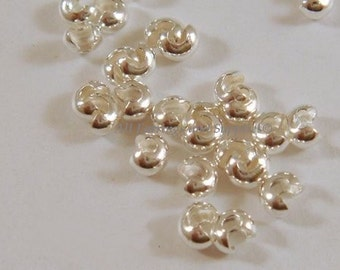 50 Silver Crimp Bead Cover 4mm When Closed Plated Brass - 50 pc - 4958