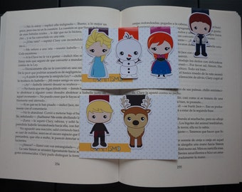 Magnetic bookmarks - Frozen, Disney bookmarks, Elsa, Anna, Olaf, Sven, Kristoff, Han