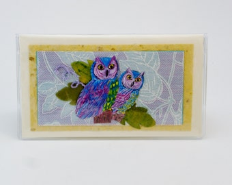 Owl Checkbook Cover Debit Receipt Holder Made in the USA