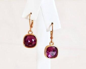 Amethyst crystal dangle earrings - Swarovski earrings - purple earrings - square stone earrings - purple and gold earrings