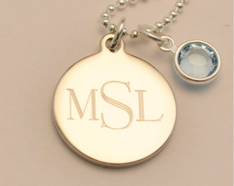 FREE SHIPPING Small Custom Engraved Monogram Charm Necklace with Birthstone, Push Gift for Mom, FREE Gift Wrapping, Mother's Day Gift