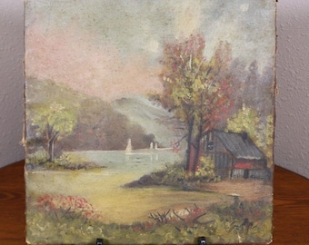 1 Wisconsin 1894 Folk Art O/C Oil on Canvas Antique Painting Minnie J. Gebhardt Mason North Prairie Landscape