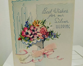 Vintage c 1950s 50s wedding anniversary card - our silver wedding anniversary - from wife /  from husband - our 25th wedding anniversary