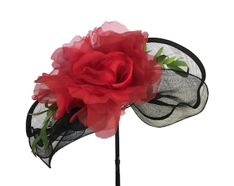 """Kentucky Derby Hat, Spring Fashion Easter Hat, Wedding Guest Hat, Garden and Tea Party Hat in Black, Red and Rhinestones is - """"Just Grand!"""""""