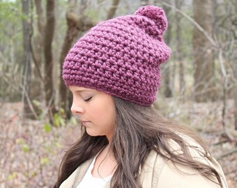 Pom Pom Hat, Purple Slouchy Hat, Slouchy Beanie, Purple Beanie, Purple Hat, Crochet Beanie, Crochet Hat, Winter Hat, Women's Hat, THE HUDSON