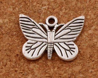 Butterfly Charm Silver..Butterfly Charm..Monarch Butterfly Charm..Garden Charms..Gardener Charm..Butterfly Jewelry 22mm x 17mm FREE SHIPPING