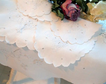 Table Topper, Four Linen Doilies, White on White Embroidery, Butterfly Table Decor, Antique Linens, by mailordervintage on etsy