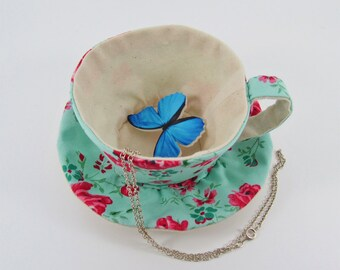 MADE-TO-ORDER ( 1 - 2 Weeks)- Textile Teacup Tidy- Rose on Aqua Green