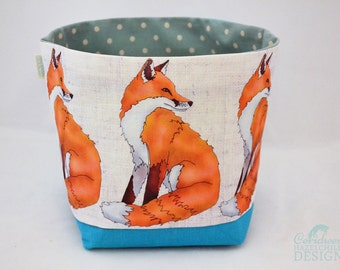 Fox Fabric Storage Box, Storage Basket, Fabric Basket, Fabric Organiser, Storage Bin, Fox Gift