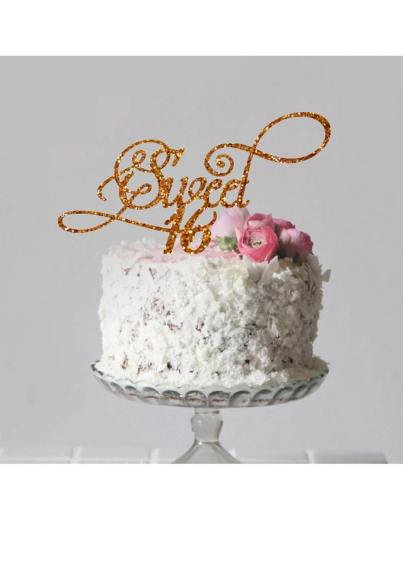 Sweet 16 Cake Topper Happy Birthday Cake Topper Sweet Sixteen Cake