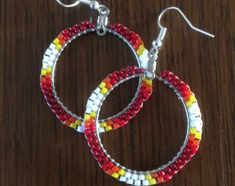 Fall style Beaded handmade earrings, drop style hoops!!