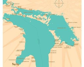 Lake Huron Map Print