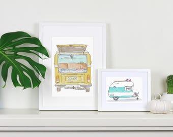 VW Kombi Campervan surf art watercolour print A4 and A5