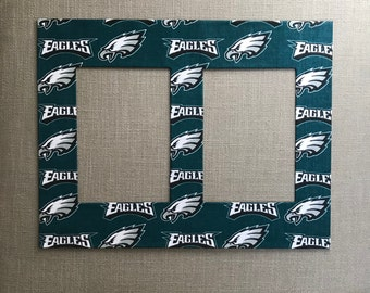Sports Fan Photo Mat Made With Philadelphia Eagles Fabric (for 11 x 14 frame with two openings for 5x7 photos)