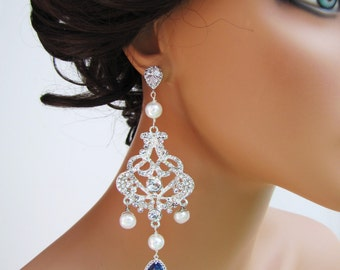 Long dangle bridal chandelier earrings with blue set in stone pendants & freshwater pearls  - Vervonique