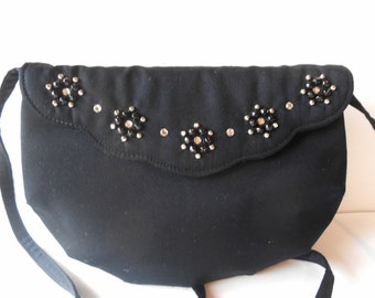 Black Evening Bag Vintage Shirl Miller Ltd. Black Clutch Handbag EB-0467