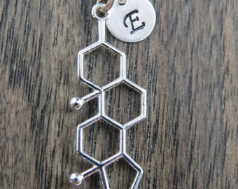 Testosterone molecule necklace, personalized testosterone necklace, molecule necklace, science jewelry, chemistry necklace, geekery jewelry