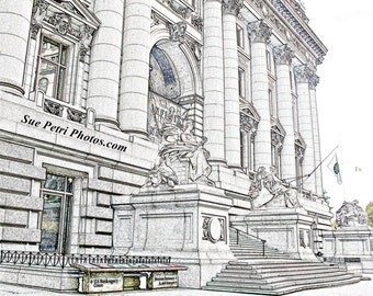 New York City Photography, NYC Art, NYC Prints, US Custom House, Line Drawing, Black and White, Monochrome, Architecture, New York Art