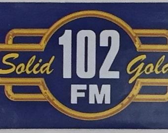 "WIOQ 102 FM, Philadelphia, Pennsylvania music radio station ""Solid Gold 102"" Bumper Sticker 1980s (now Q102)"