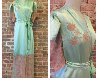 Vintage 1930s Green Silk Robe - Old Hollywood - Romantic Robe - Art Deco Chinoiserie Loungewear