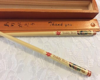 """Vintage Never Used Bamboo Chopsticks in Wooden Box, 7"""" chopsticks, Teddy Bear chopsticks, Thank you , Slide top Box, Japanese Chopsticks"""