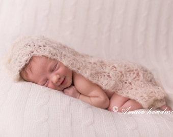 Baby lace wrap - crochet newborn wrap - beautiful newborn photo prop - multiple colors - very soft alpaca wool