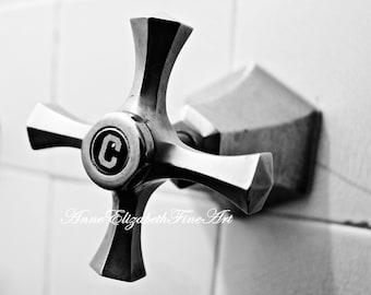 Bathroom Photography, Retro Bathroom, Hot and Cold Set, Art Deco, Set of Two Prints, Black and White Bath, Bathroom Wall Art, Art for Bath
