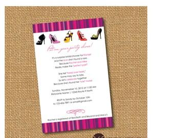 Bridal shower invitations shoe theme bridal shower bridal printable shoe theme bridal shower party invite diy printable party invitation filmwisefo