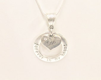 Forever In My Heart Remembrance Pendant on Silver Chain, Gift For Her, Gift For Mom, Memory Necklace, In Remembrance, Sympathy Gift