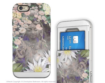 """Goddess iPhone 6 6s cardholder Case - Buddhist Kwan Yin for iPhone 6 - """"Reflections"""" - Credit Card Holder iPhone 6s Case with Rubber Sides"""