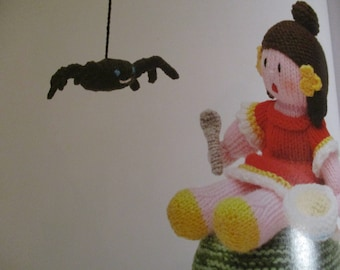 Handmade Knitted Nursery Rhyme Little Miss Muffet Doll And Spider (New, Made To Order) 3+