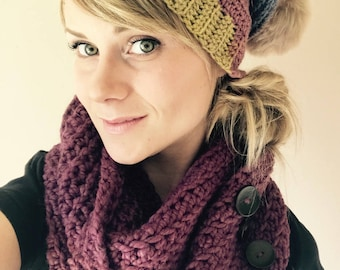 Pattern - Easy chunky button infinity scarf