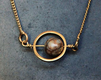 Planet Pendant // Mars Jupiter Neptune Picasso Jasper Necklace // Planetary Cosmic Swirl // One of a Kind Cosmos // Outer Space N-300-B