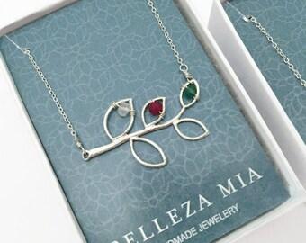 Sterling Silver Grandma Necklace - Nana Necklace - Grandma Birthstone Necklace - Gift for Grandma - Mimi Necklace Grandchildren Necklace