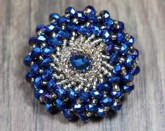 4pcs 4cm 1.57 inches wide blue beads braided clothes coat buttons appliques patches FRSETWSIFI free ship