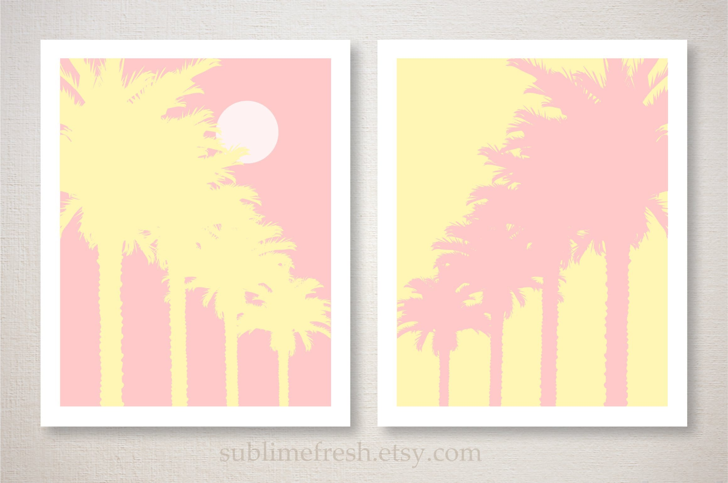Tropical Palm Tree Art Print Set Wall Decor choose your own