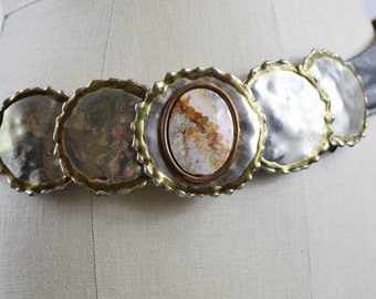 1970s Brutalist Belt Bonnie Boynton Large 2 Part Hammered Metal Buckle with Stone and Original Gray Leather Belt