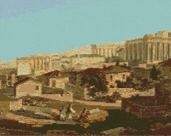 "Parthenon Greece Edward Dodwell Counted Cross Stitch Kit 16"" x 10"""