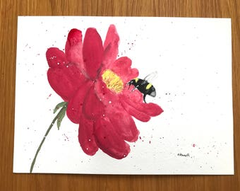 Bumble bee art, ORIGINAL painting, bumble bee artwork, red flower art, red flower decor, floral painting, bumble bee original, 10 x 7