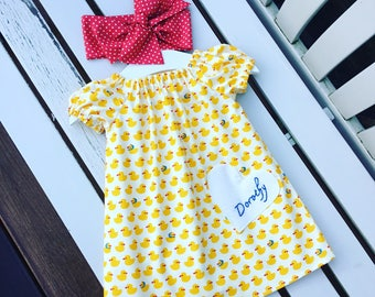 Can be personalised BABY GIRL'S DRESS 100% cotton cute baby ducks yellow fabric 0-3 months 3-6 months 6-12 months 12-18 months 18-24 months