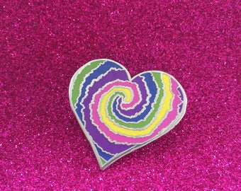 Tie Dye Heart lapel pin